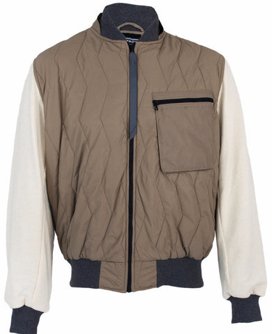 Sand/Natural Quilted Bomber Jacket