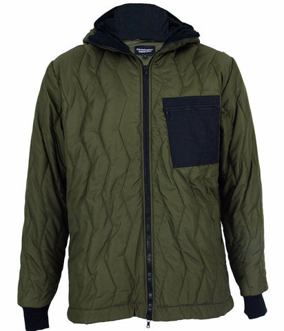 Olive/Black Quilted Hooded Bomber Jacket