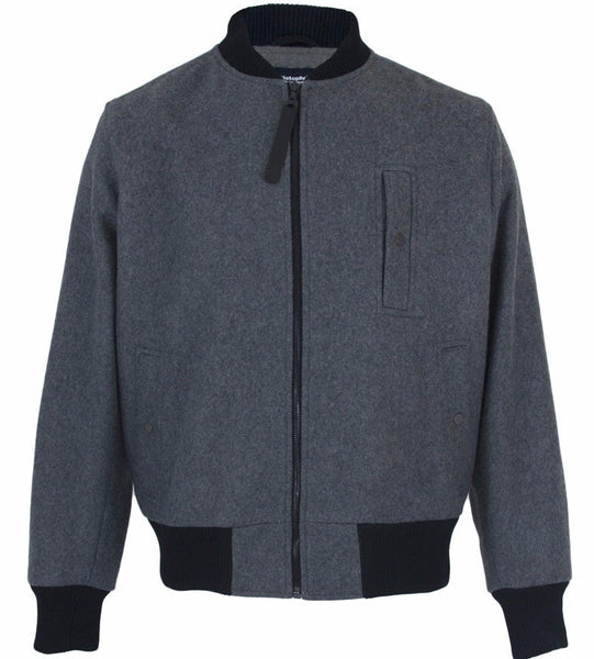 Grey Wool Bomber Jacket