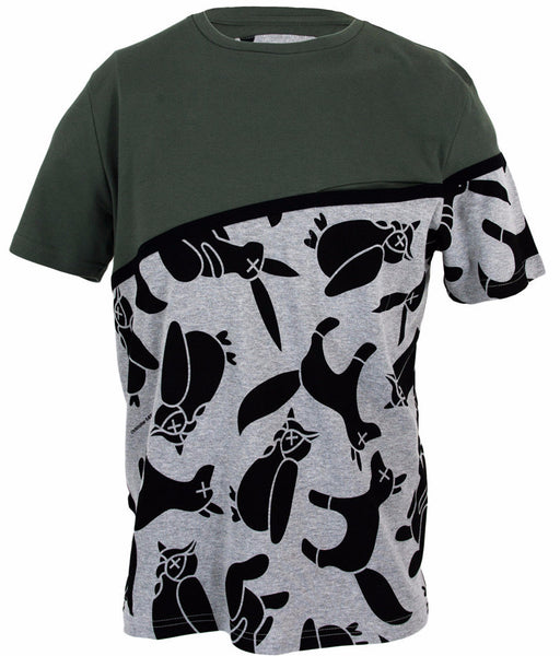Printed Animal Olive Front Pocket T-Shirt