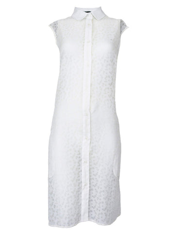 White Ripstop Sleeveless Dress