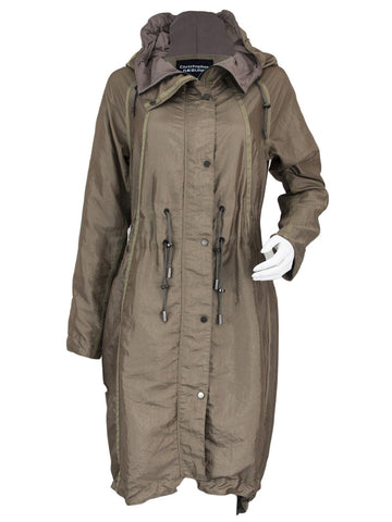 Taupe Lightweight Parka with Cord Hem