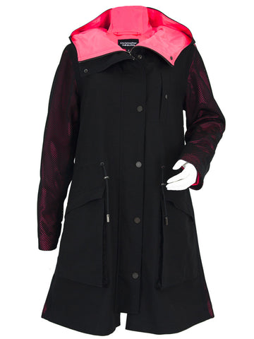 Black Pink Mesh Pop Parka