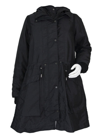 Black Lightweight Hooded Pop Parka