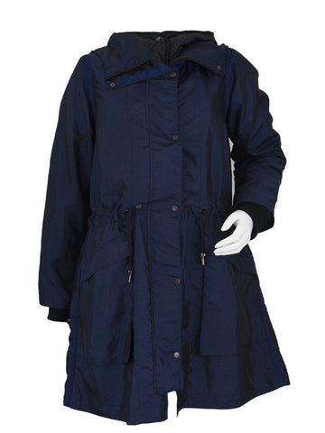 Blue Lightweight Hooded Pop Parka