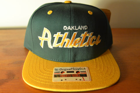 Oakland Athletics, SCRIPT, Green/Yellow, MLB, Snapback
