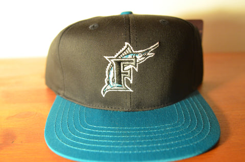 Florida Marlins, LOGO, Black/Teal, MLB, Snapback