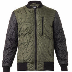 Olive/Black Quilted Bomber Jacket