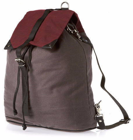 Grey & Plum Waxed Cotton Multi Rucksack