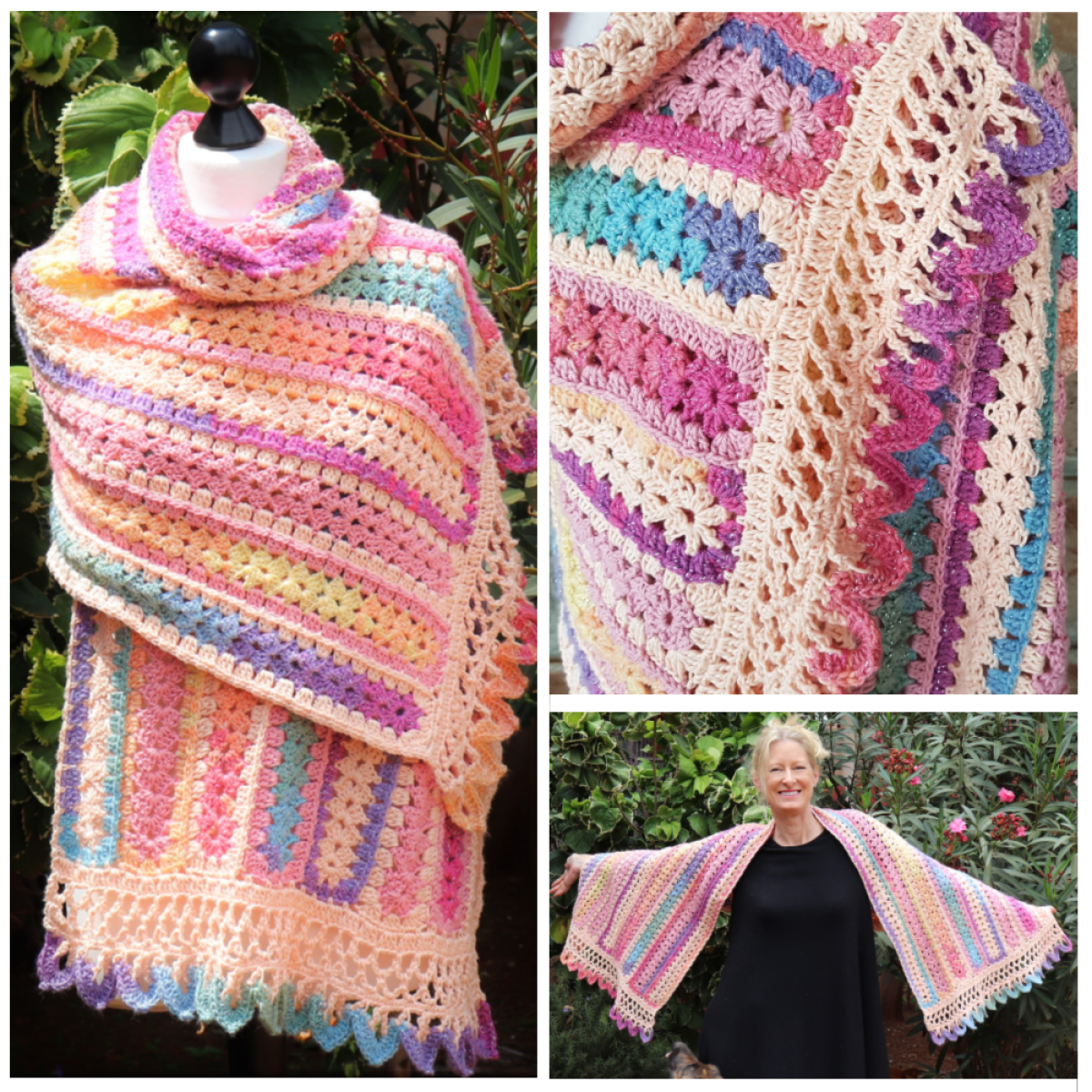 Aurora Dawn Crochet Shawl with Dragon Teeth Border - secretyarnery