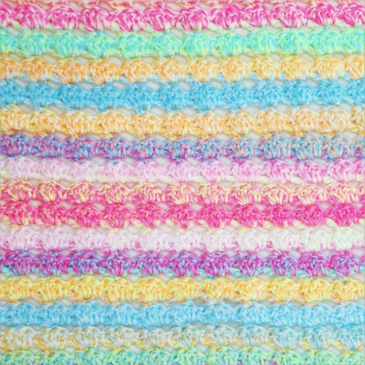 Candy Cradle Crochet Baby Blanket with Stacking Shells Border - secretyarnery