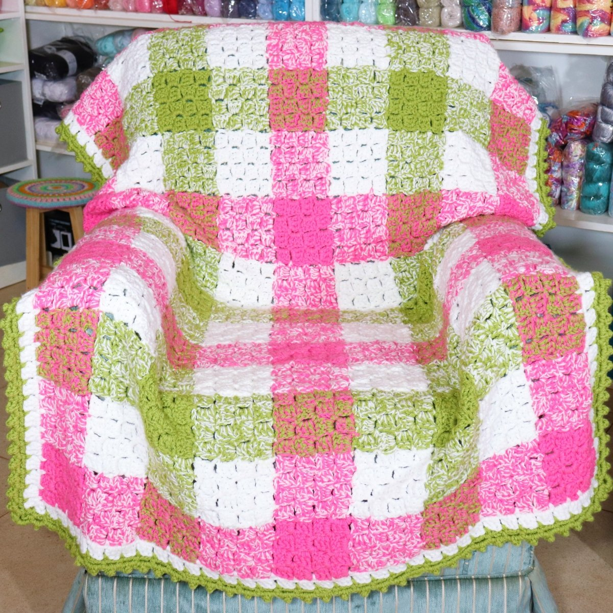 Gingham Crochet Corner to Corner Blanket with Easy Bobble Border - secretyarnery
