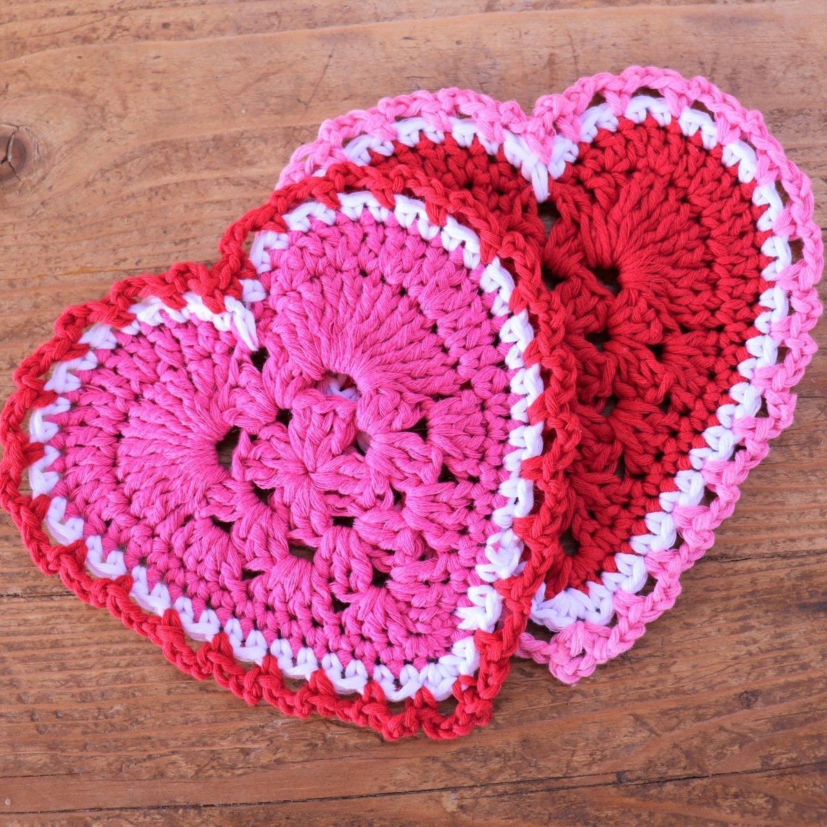 Granny Square Heart Crochet Coasters - secretyarnery