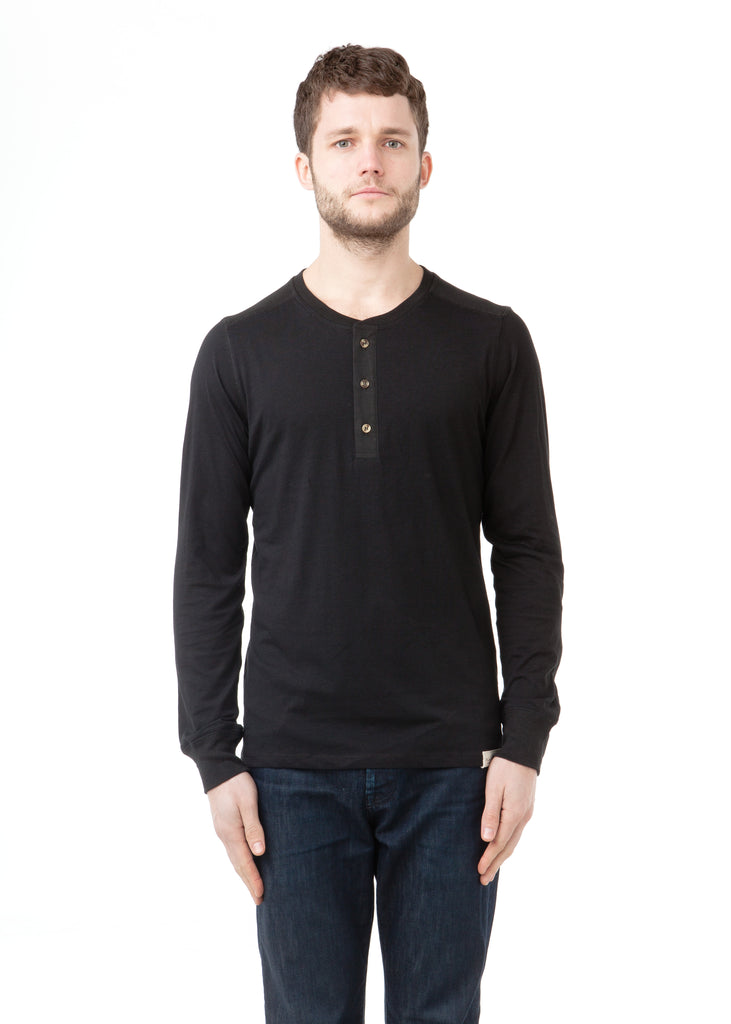 PIMA Cotton Handsome Henley Black