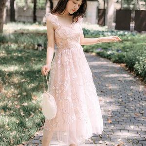 Women Dress New Fashion Summer Elegant Slim Bodycon Formal Party Beach Runway Sexy Spaghetti Strap Mesh Midi Ruffles Dresses - Oskalisti