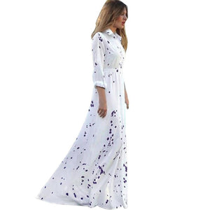 JECKSION Women Dress Long Elegant Lady Summer Long Beach Dresses 2016 Sexy Boho Party Chiffon Long Sleeve White Dress #LSIW - Oskalisti