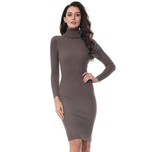 Gamiss Women Autumn Winter Sweater Knitted Dresses Slim Elastic Turtleneck Long Sleeve Sexy Lady Bodycon Robe Dresses Vestidos - Oskalisti