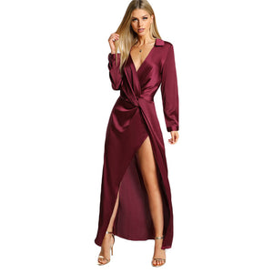 SHEIN Burgundy Sexy Party Dress Satin Front Twist Wrap Dress Lapel Deep V Neck Long Sleeve Split Maxi Shirt Dress - Oskalisti