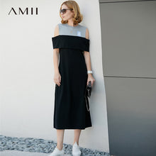 Load image into Gallery viewer, Amii Women Minimalist Summer Dress 2018 A Line Contrast Color Off Shoulder Mid Calf Female Dresses - Oskalisti
