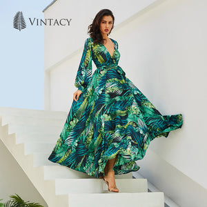 Vintacy Long Sleeve Dress Green Tropical Beach Vintage Maxi Dresses Boho Casual V Neck Belt Lace Up Tunic Draped Plus Size Dress - Oskalisti
