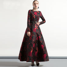 Load image into Gallery viewer, High Quality Elegant Women Long Sleeve Long Maxi Dress Fall Plus Size Floral Lady Jacquard Autum winter Dress vintage Fashion - Oskalisti
