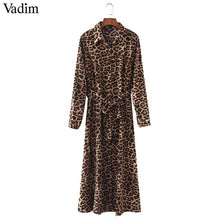 Load image into Gallery viewer, Vadim women leopard print ankle length dress bow tie sashes long sleeve retro ladies casual chic dresses vestidos QA472 - Oskalisti