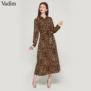 Vadim women leopard print ankle length dress bow tie sashes long sleeve retro ladies casual chic dresses vestidos QA472 - Oskalisti