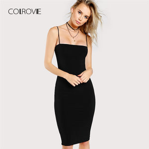 COLROVIE Black Solid Cami Bodycon Dress 2018 New Spaghetti Strap Sleeveless Bodycon Dress Knee Length Woman Plain Dress