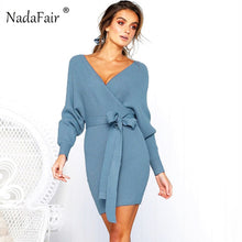 Load image into Gallery viewer, Nadafair v neck knitted sweater winter dress women 2018 autumn long sleeve sash mini bodycon sexy dresses elegant robe pull - Oskalisti