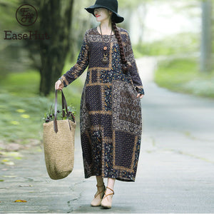 EaseHut Vintage Printed Cotton Linen Dress For Women Loose Casual Maxi Dresses Long Sleeve Round Neck Retro Fashion Elbise mujer - Oskalisti