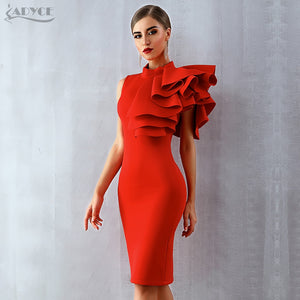 Adyce 2019 New Summer Women Celebrity Party Dress Vestidos Sexy White Red Sleeveless Ruffles Bodycon Midi Bodycon Club Dresses - Oskalisti