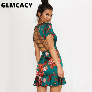 Women Green Criss Cross Back Frill Hem Shift Dress Streetwear Sheath Flora Print Short Sleeve Above Knee Mini Summer Party Dress - Oskalisti