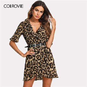 COLROVIE Leopard V Neck Short Sleeve Women Dress 2019 Streetwear Ruffle Surplice Wrap Summer Dress Night Out Sexy Mini Dresses - Oskalisti