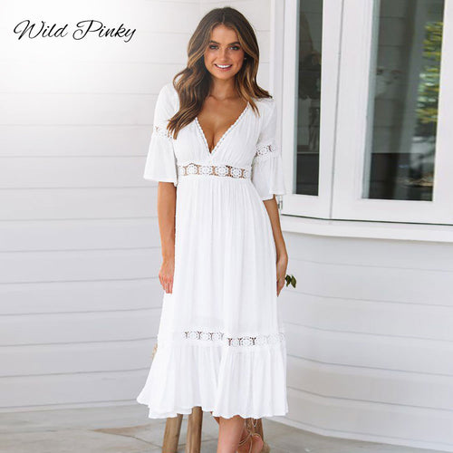 WildPinky New White Lace Up Long Sexy Dress Women Summer V-neck Hollow Out Party Bohemian Dress Casual Feminino Dresses Vestidos - Oskalisti