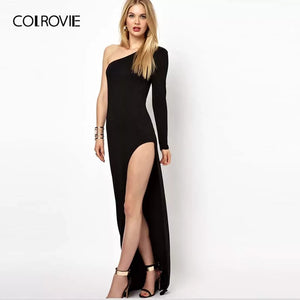 COLROVIE Black Solid One Shoulder Split Sexy Party Dress Women 2018 Autumn Long Sleeve Maxi Dress Vintage Elegant Bodycon Dress - Oskalisti