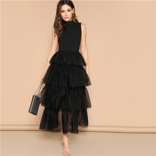 SHEIN Glamorous Black Mixed Media Layered Contrast Mesh Ruffle Long Dress Elegant Mock-neck Sleeveless 2019 Spring Dresses - Oskalisti