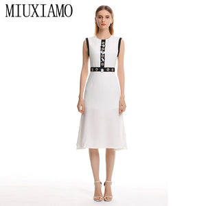 MIUXIMAO 2019 Spring&Summer Long Dress New Arrival Diamonds Floral o-Neck  Sleeveless  Trumpet Casual Dress Women vestido - Oskalisti