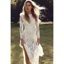 Load image into Gallery viewer, Ordifree 2019 Summer Women Long Party Dress Vintage Long Sleeve Floor Length Sexy Backless White Lace Maxi Dress - Oskalisti