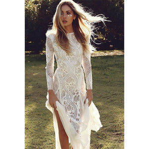 Ordifree 2019 Summer Women Long Party Dress Vintage Long Sleeve Floor Length Sexy Backless White Lace Maxi Dress - Oskalisti