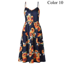 Load image into Gallery viewer, 2019 Summer Women Button Decorated Print Dress Off-shoulder Party Beach Sundress Boho Spaghetti Long Dresses Plus Size FICUSRONG - Oskalisti