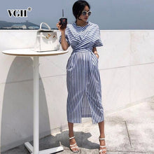 Load image into Gallery viewer, VGH Summer Women Short Sleeve Streetwear Dress O Neck Striped Straight Bandage Bow Women 's Fashion Clothing 2019 New Tide - Oskalisti