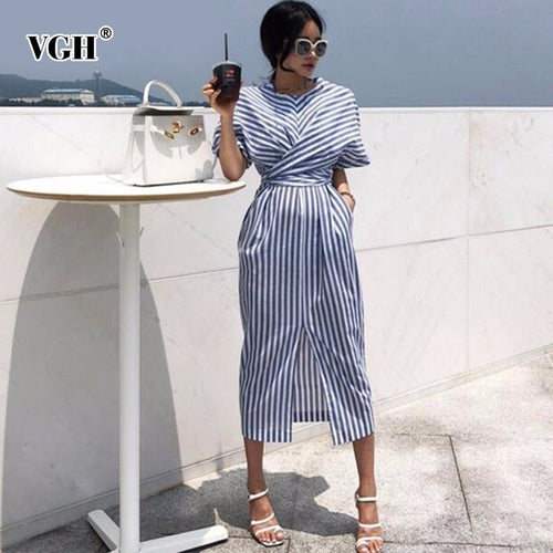 VGH Summer Women Short Sleeve Streetwear Dress O Neck Striped Straight Bandage Bow Women 's Fashion Clothing 2019 New Tide - Oskalisti