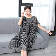 Load image into Gallery viewer, Fashion High Quality 2019 New Summer Women Dress Real Silk Printed Retro Dress Chinese Style Loose Casual Sleeveless Plus Size - Oskalisti