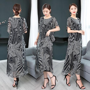 Fashion High Quality 2019 New Summer Women Dress Real Silk Printed Retro Dress Chinese Style Loose Casual Sleeveless Plus Size - Oskalisti