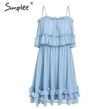 Load image into Gallery viewer, Simplee Elegant ruffle off shoulder women dress Spaghetti strap chiffon summer dresses Casual holiday female pink short sundress - Oskalisti
