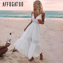 Load image into Gallery viewer, Affogatoo Sexy v neck cotton white summer dress women Elegant embroidery strap long dress Casual high waist button dress female - Oskalisti