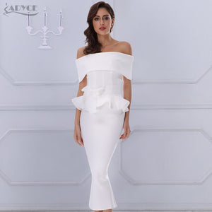 Adyce Bow&Ruffles Ankle Length Celebrity Evening Party Dress 2019 New Women Bodycon Dresses Slash Neck Short Sleeve White Dress - Oskalisti