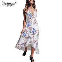 Load image into Gallery viewer, Ruiyige Bohemian Floral Women Summer Dress Festa V Neck High Waist Womens Beach Maxi Long Dress Spaghetti Strap Party Sundress - Oskalisti