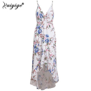 Ruiyige Bohemian Floral Women Summer Dress Festa V Neck High Waist Womens Beach Maxi Long Dress Spaghetti Strap Party Sundress - Oskalisti