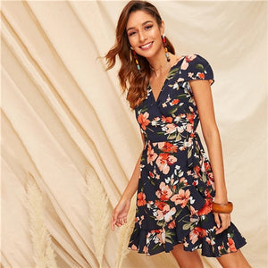 SHEIN Boho Multicolor Floral Print Ruffle Hem Self Tie Wrap Summer Dress Women High Waist Fit and Flare A Line Elegant Dresses - Oskalisti